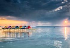 Sunset over lake Balaton, Hungary Stock Images