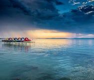 Sunset over lake Balaton, Hungary Royalty Free Stock Photography