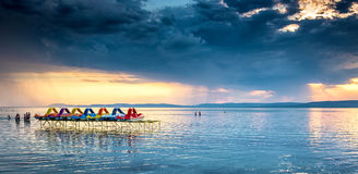 Sunset over lake Balaton, Hungary Royalty Free Stock Photos