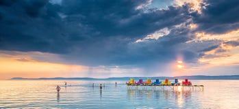 Sunset over lake Balaton, Hungary Stock Image