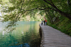 Path for tourists in Plitvice lakes National Park, Croatia Royalty Free Stock Images