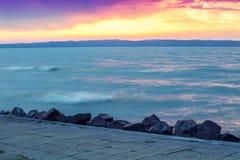 Sunset over the lake Balaton stock photo