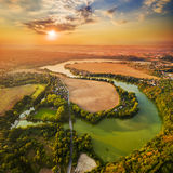 Sunset over lake. stock images
