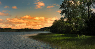 Sunset over the lake. Beautiful  sunset over the lake, Karelia, Russia Royalty Free Stock Image