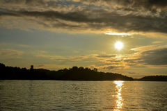 Sunset over Lake. Beautiful sunset over lake in Minneosta Royalty Free Stock Photo