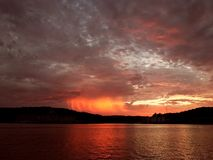 Sunset over lake Royalty Free Stock Photography