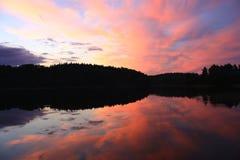 Sunset over lake Royalty Free Stock Photos