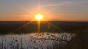 Sunset over lake. stock footage