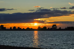 Sunset over the lake. Fall royalty free stock photo