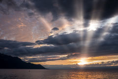 Sunset over Lake Geneva at Montreux Stock Photos