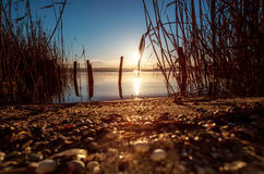 Sunset Over the lake Royalty Free Stock Photos
