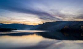 Sunset over lake landscape Royalty Free Stock Photos