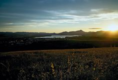 Sunset over the lake Liptovska Mara. royalty free stock photo