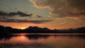 Sunset over lake lucerne switzerland stock video footage