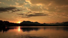 Sunset over lake lucerne switzerland timelapse stock footage