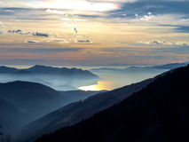 Sunset over the lake maggiore Stock Photo