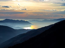 Sunset over the lake maggiore Royalty Free Stock Image