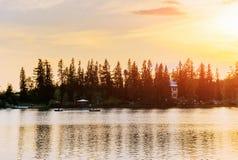 Sunset over the lake. Majestic mountain lake in National Park High Tatra. Strbske pleso, Slovakia Stock Image