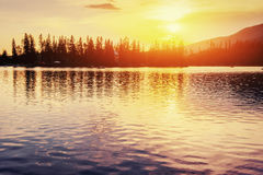 Sunset over the lake. Majestic mountain  in National Park Stock Image
