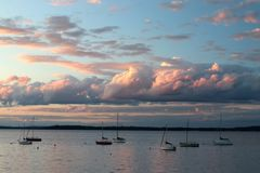 Sunset over the lake Mendota. Stock Photos
