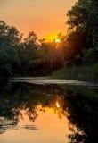 Sunset over lake Stock Photos