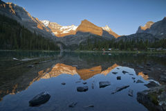 Sunset over lake ohara Royalty Free Stock Image