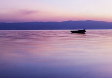 calm pink Sunset over lake Ohrid Stock Photo