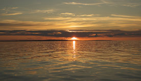 Sunset over lake Onega. Royalty Free Stock Images