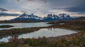 Sunset over the lake Pehoe. Parque Torres del Paine, Patagonia, Chile stock footage