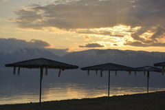 Sunset over Lake Prespa in  Macedonia Royalty Free Stock Photography