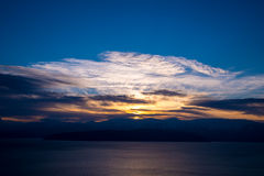 Sunset over lake Prespa Stock Photo