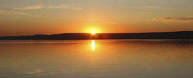 Sunset over the lake in Russia royalty free stock photo