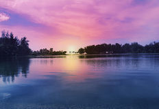 Sunset over a lake Royalty Free Stock Image