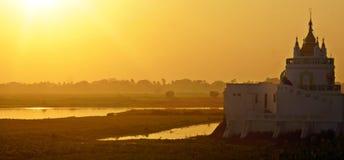 Sunset over Lake Taungthaman Stock Photos