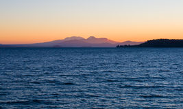 Sunset over Lake Taupo Royalty Free Stock Images
