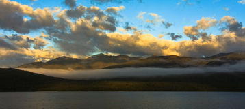 Sunset over Lake Te Anau royalty free stock photography