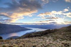 Sunset over Lake Te Anau on the Kepler Track Stock Image