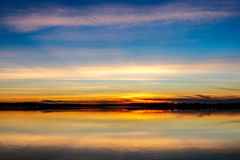 Sunset Over a Lake. Sunset over lake Thunderbird in Oklahoma royalty free stock photography