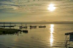 Sunset over lake tiberias royalty free stock photo