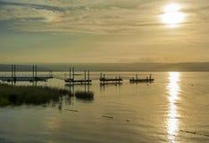Sunset over lake tiberias stock photo