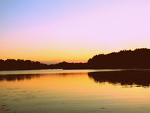 Sunset over lake. Tisza, Hungary Royalty Free Stock Image