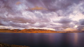 Sunset over Lake Tso Moriri stock video footage