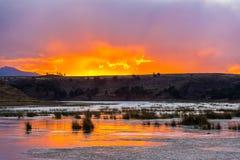 Sunset over Lake Umayo stock image