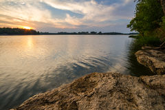 Sunset Over the Lake Royalty Free Stock Photography
