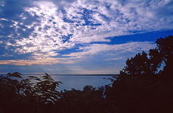 Sunset over Lake Winnebago. Scenic view of sunset and cloudscape over Lake Winnebago with leafy trees silhouetted in foreground, Wisconsin State Park, U.S.A royalty free stock photography