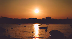 Sunset Over Lake Zurich Royalty Free Stock Photography