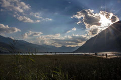 Sunset over the lakeshore Stock Photography
