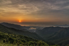 Sunset over Lantau. Sunset shot taken over Sunset Peak in Hong Kong Royalty Free Stock Images