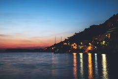 Sunset over Lapad Bay in Dubrovnik, Croatia. Stunning coastal scene at sunset royalty free stock image
