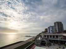 Sunset over Larcomar shopping mall. Lima, Peru - December 30, 2016: View of the Larcomar shopping mall in Miraflores district during the sunset Stock Photos